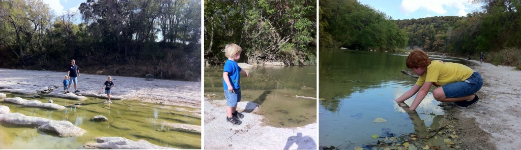 throwing rocks in the river