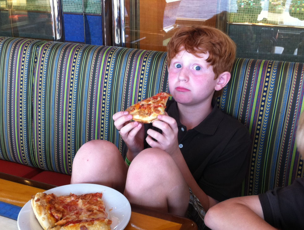 eating pizza on Carnival Magic