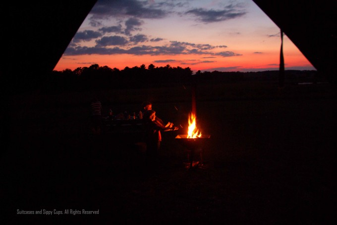 sunset and campfire on the farm