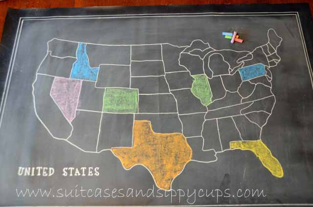 Making A Chalkboard Map Of The USA Suitcases And Sippy Cups - Usa on the map