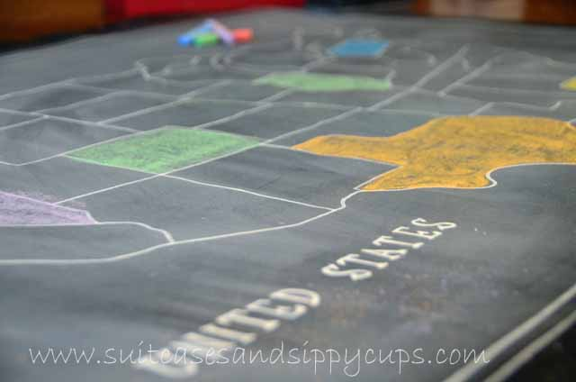 Making A Chalkboard Map Of The Usa Suitcases And Sippy Cups