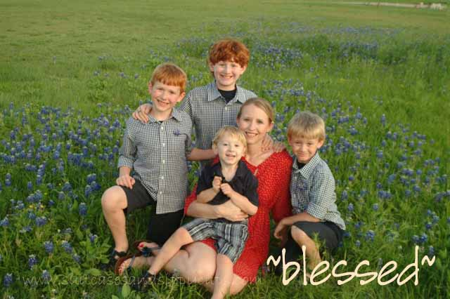 blessed bluebonnets mom and kids
