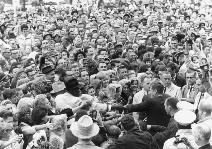 the crowd outside the hotel texas meeting kennedy
