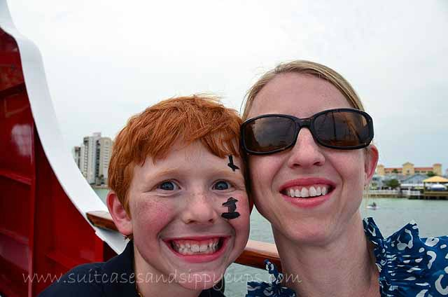 mom and son pirate ship