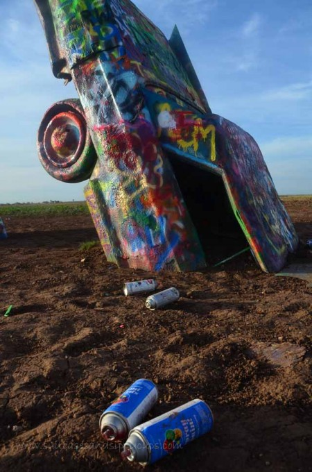 empty spray paint cans at cadillac ranch