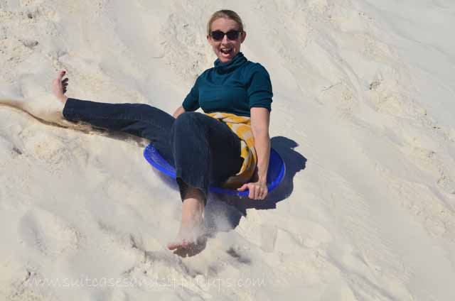 sliding at White Sands, New Mexico