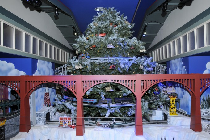 Trains with Christmas tree