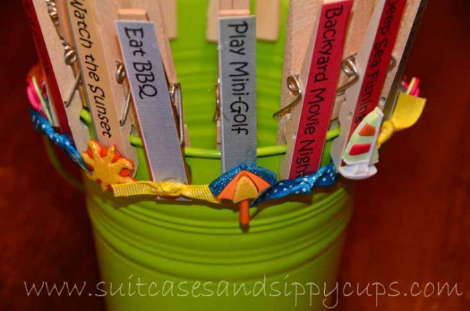 bucket list with clothespins for kids
