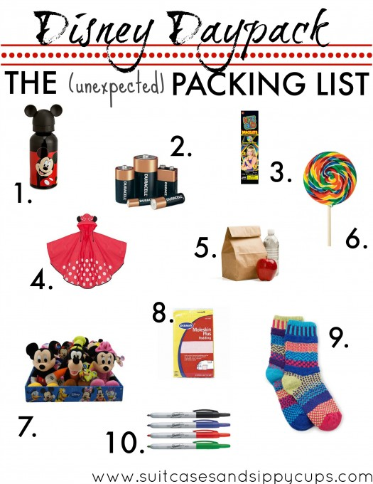 disney daypack packing list unexpected