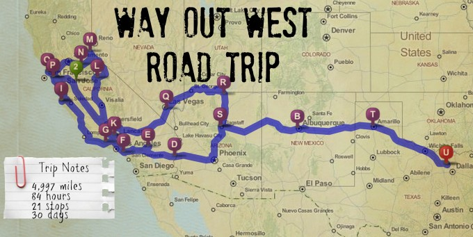 Way out West Map Itinerary