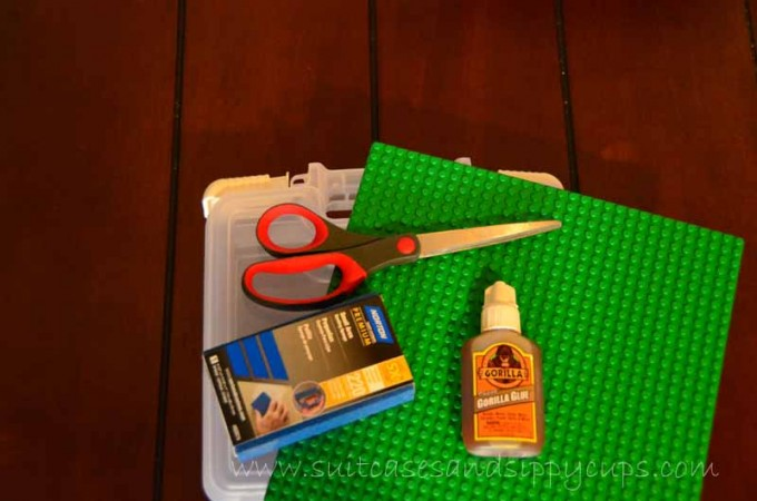 supplies for DIY Lego traveling kit