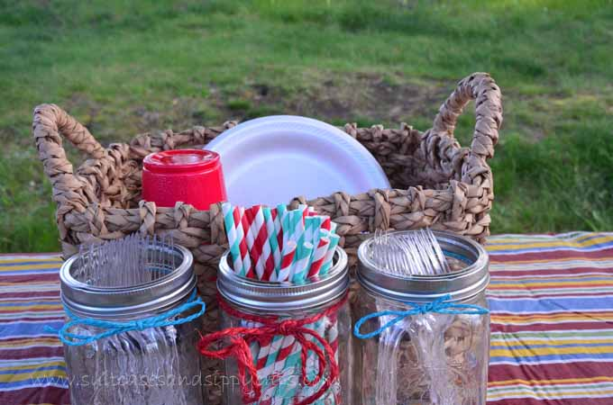 mason jars and dishes for glamping