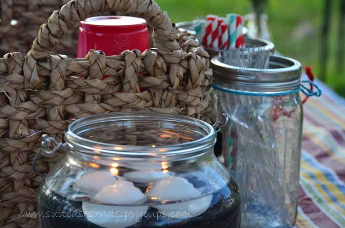 candles and mason jars camping