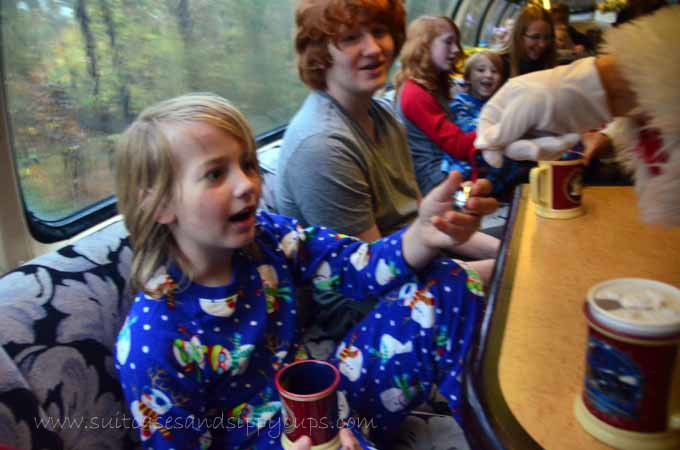 getting a bell from Santa on the Polar Express